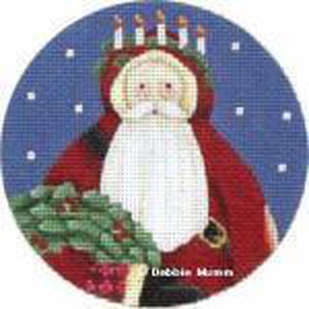 Candle Crown Santa Ornament Needlepoint Canvas-Needlepoint Canvas-Melissa Shirley-18 mesh-KC Needlepoint