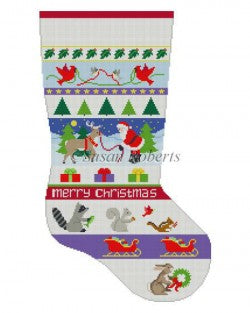 Santa and Animals Stripe Stocking Canvas-Needlepoint Canvas-Susan Roberts-KC Needlepoint