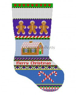 Bold Stripe Gingerbread Stocking Canvas-Needlepoint Canvas-Susan Roberts-KC Needlepoint