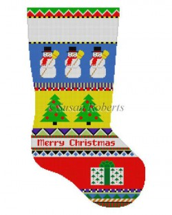 Bold Stripe Snowman Stocking Canvas - needlepoint