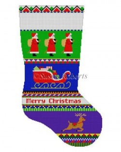 Bold Stripe Santa Stocking Canvas-Needlepoint Canvas-Susan Roberts-KC Needlepoint