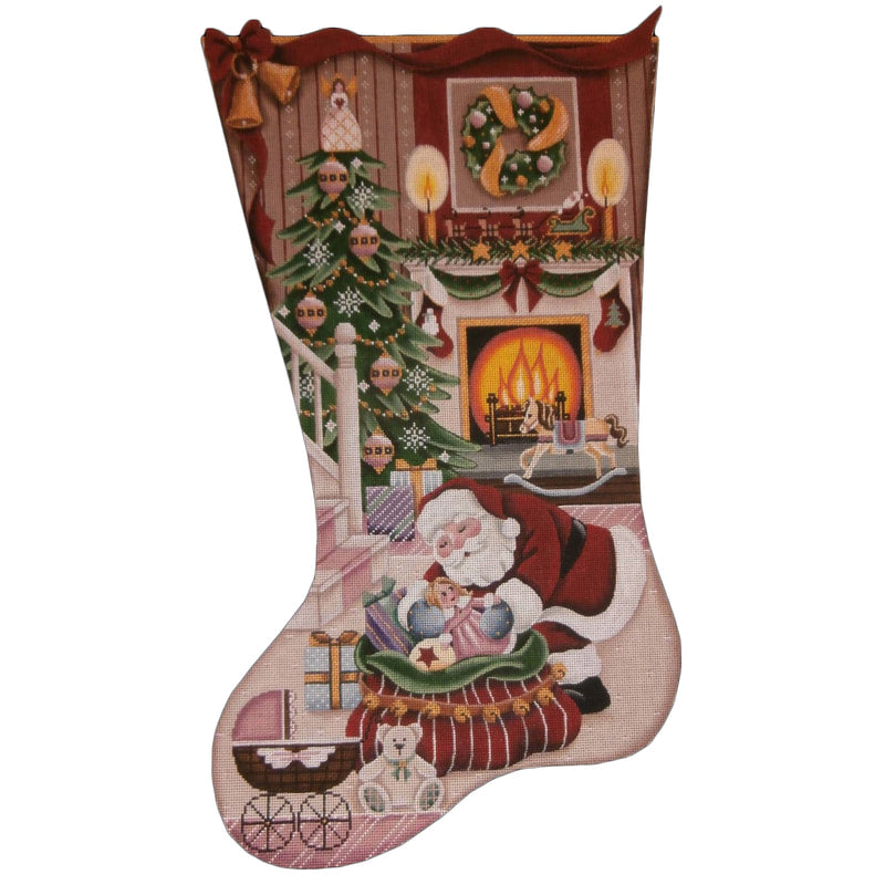Christmas by the Fire Stocking Canvas-Needlepoint Canvas-Rebecca Wood Designs-KC Needlepoint