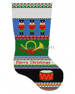 Bold Stripe Nutcracker Stocking Canvas-Needlepoint Canvas-Susan Roberts-KC Needlepoint