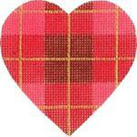 Plaid Heart Needlepoint Canvas - needlepoint