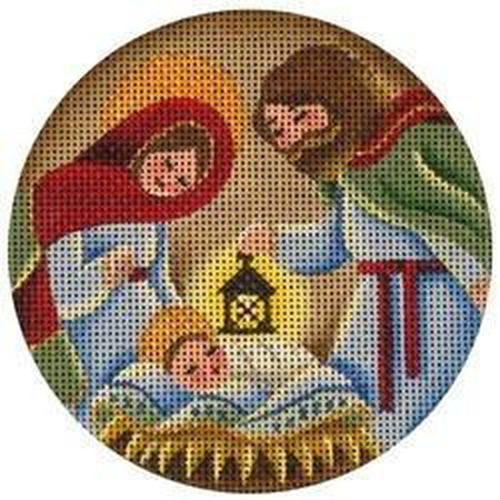 Nativity Round-Needlepoint Canvas-Rebecca Wood Designs-KC Needlepoint