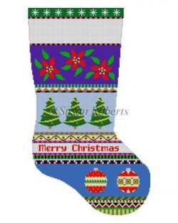 Bold Stripe Poinsettias and Ornaments Stocking Canvas - KC Needlepoint