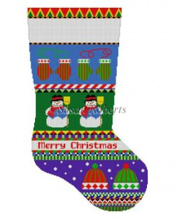 Bold Stripe Snowman, Hat, Mittens Stocking Canvas-Needlepoint Canvas-Susan Roberts-KC Needlepoint