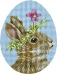 Violet the Bunny Egg Needlepoint Canvas