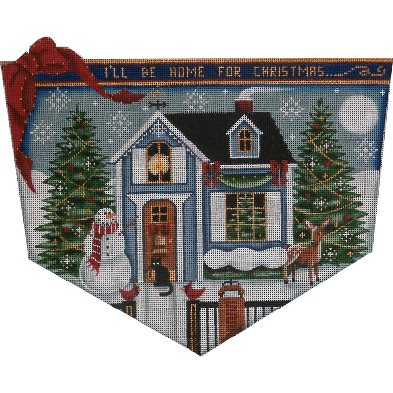 Winter Cottage Stocking Topper - needlepoint