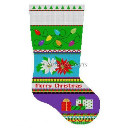 Bold Stripe Poinsettias Stocking Canvas