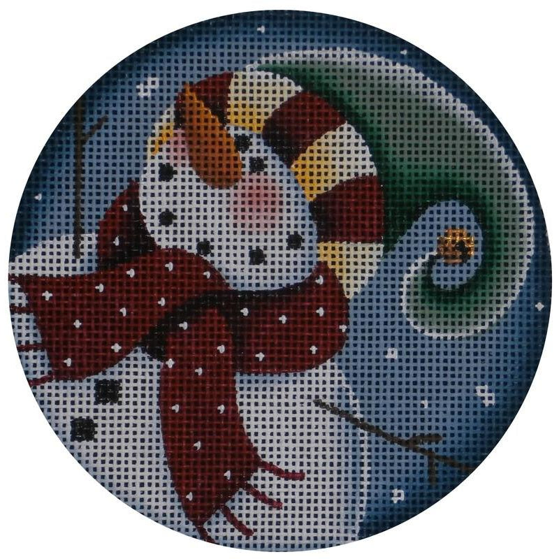 Curly Snowman 2 Round - needlepoint