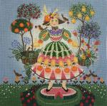 Watermelon Girl Needlepoint Canvas