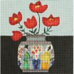 Red Flowers Needlepoint Canvas - needlepoint