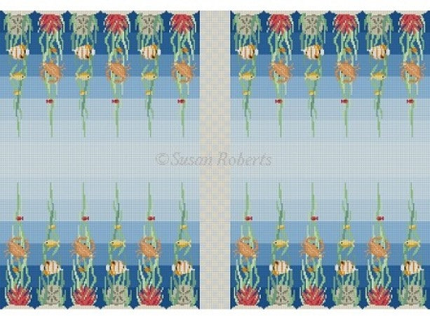 Ocean Floor Backgammon Board Canvas-Needlepoint Canvas-Susan Roberts-KC Needlepoint