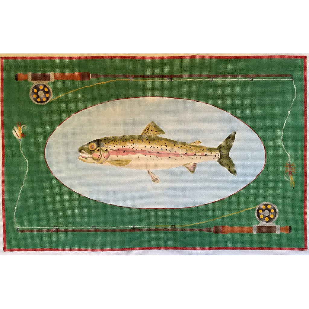 Fly Fishing Rainbow Trout Canvas - KC Needlepoint