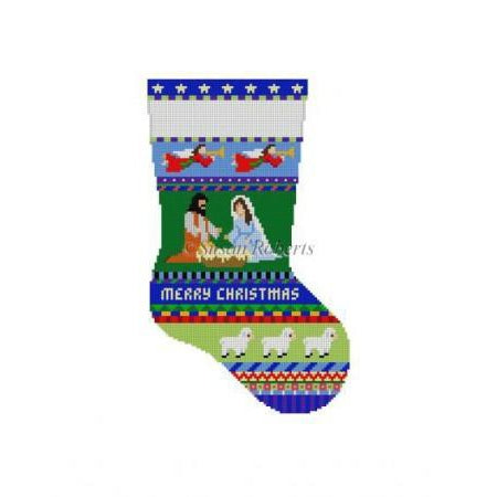 Bold Stripe Nativity Stocking Canvas-Needlepoint Canvas-Susan Roberts-KC Needlepoint