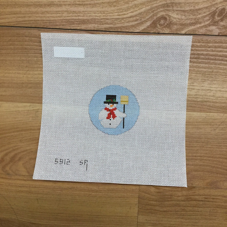 Snowman Round Canvas-Needlepoint Canvas-KC Needlepoint