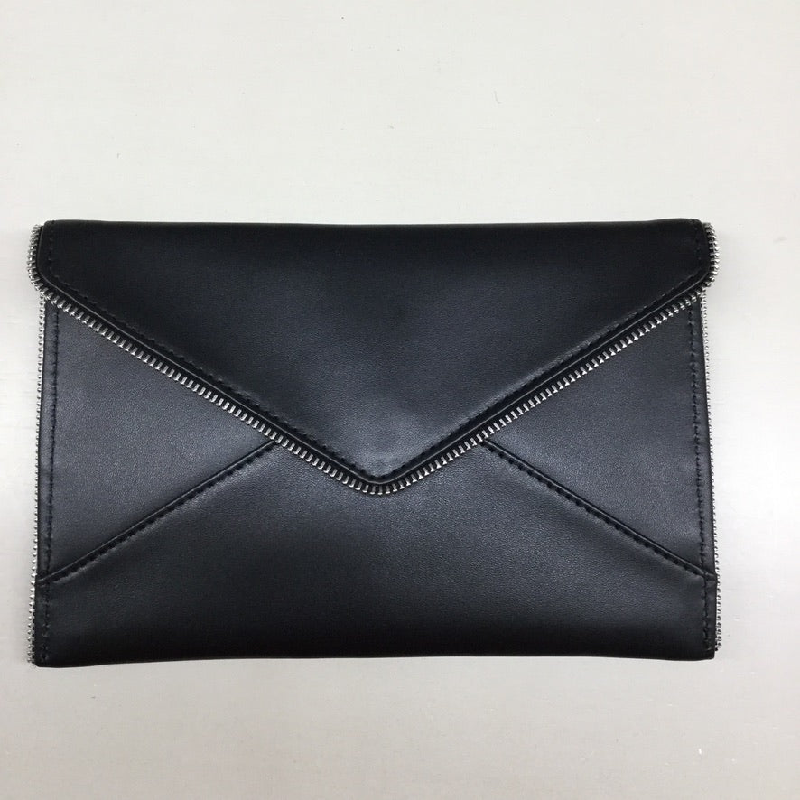 Black Leather Clutch Purse - needlepoint
