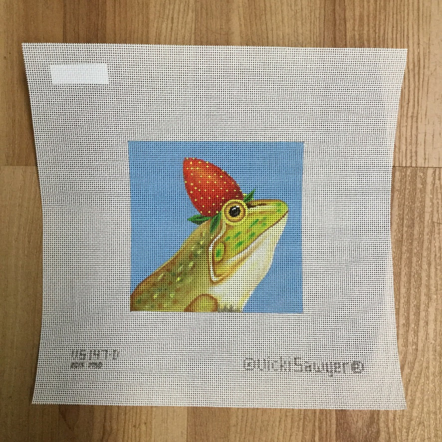 Strawberry Frog Needlepoint Canvas