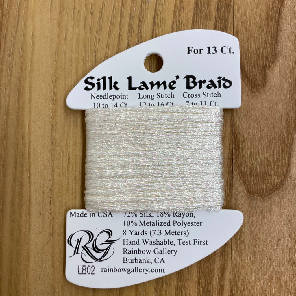 Silk Lamé Braid LB02 White - KC Needlepoint