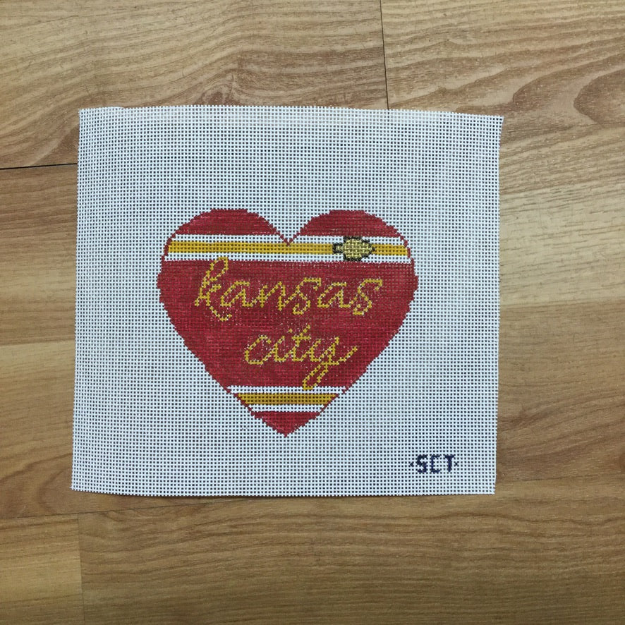 Kansas City Heart Canvas-Needlepoint Canvas-KCN Designers-KC Needlepoint