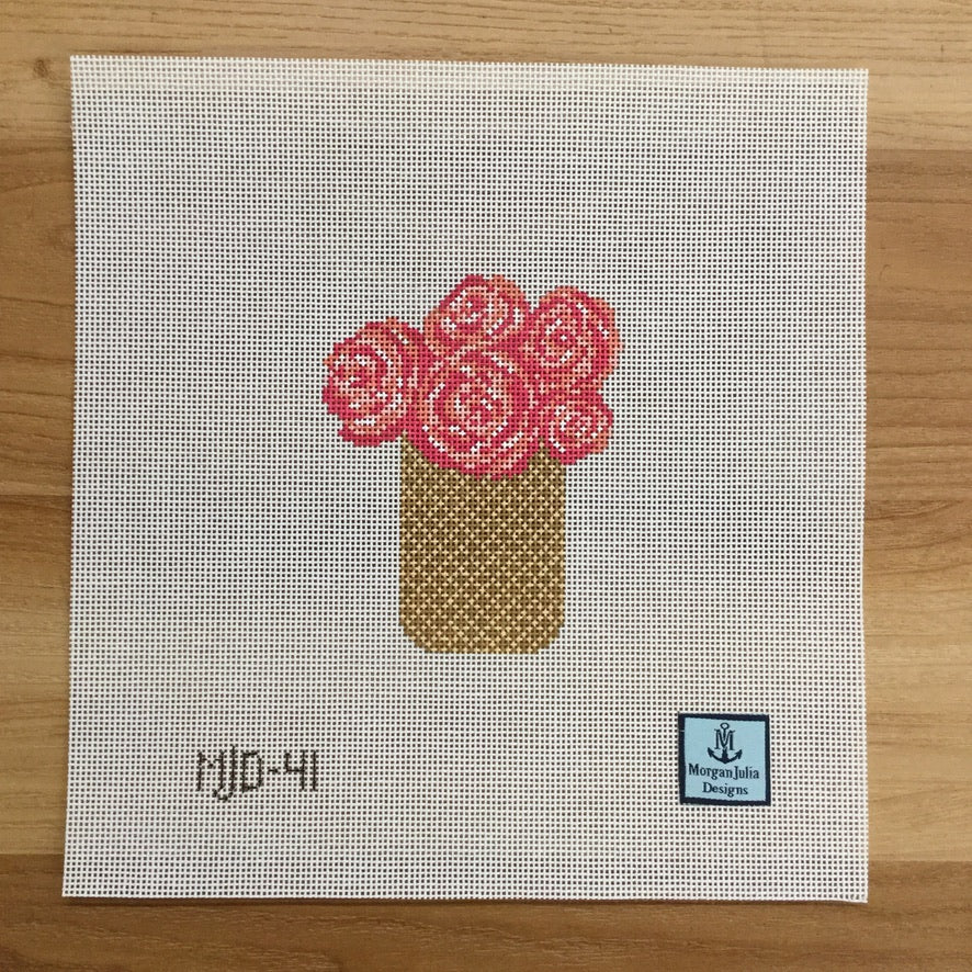 Peony Basket Canvas - needlepoint