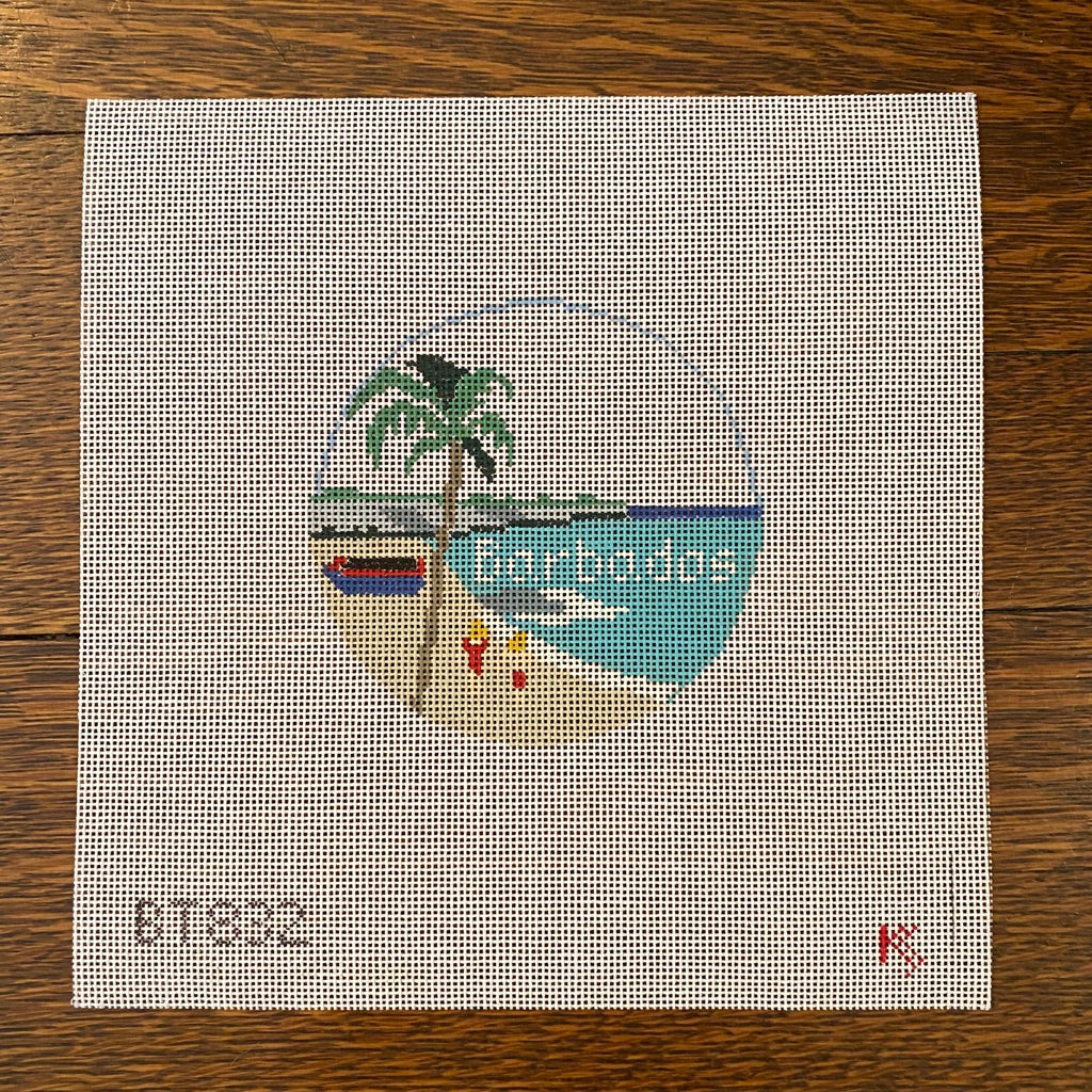 Barbados Travel Round Canvas