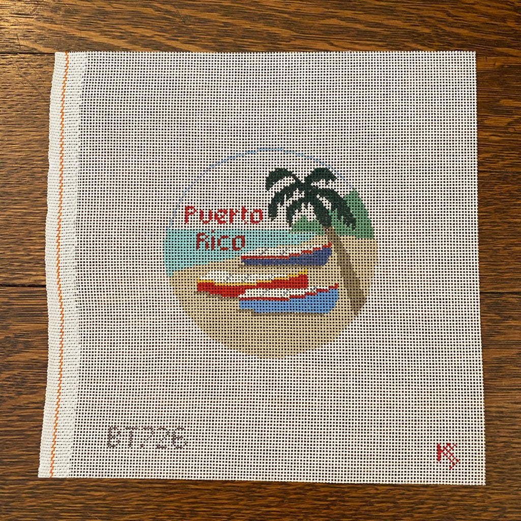Puerto Rico Travel Round Canvas-Needlepoint Canvas-KC Needlepoint