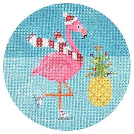 Flamingle Jingle Round Canvas - needlepoint