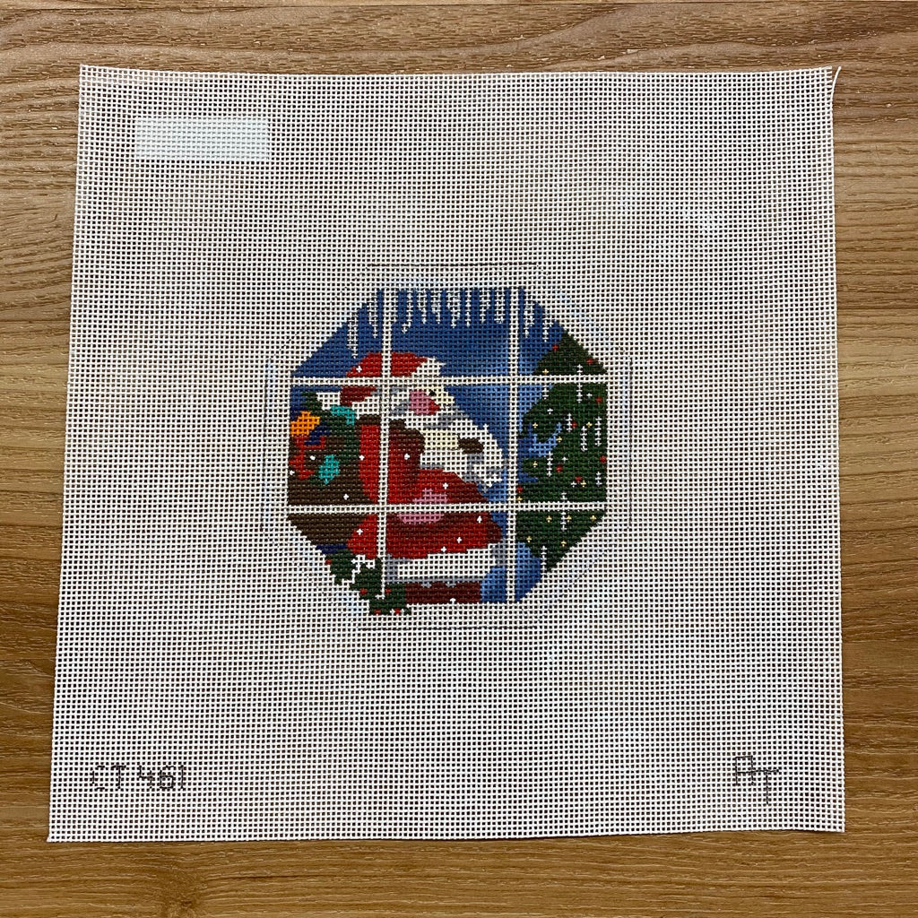 Santa and Tree Octagonal Canvas - needlepoint