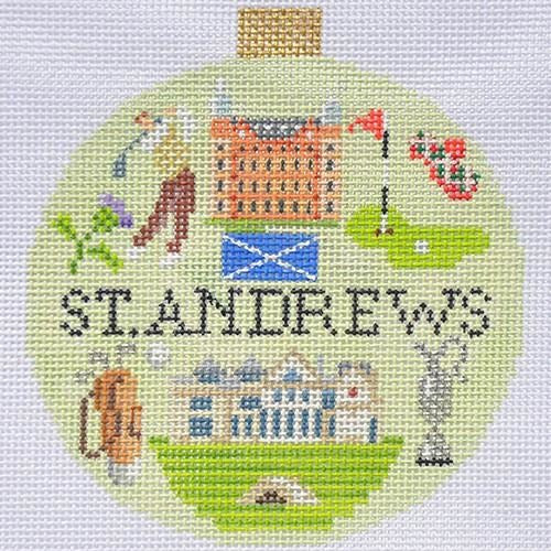 St. Andrews Travel Round Needlepoint Canvas-Needlepoint Canvas-Kirk and Bradley-KC Needlepoint