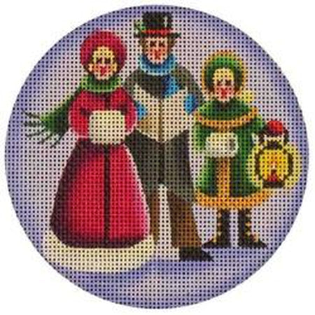 Carolers Round Canvas