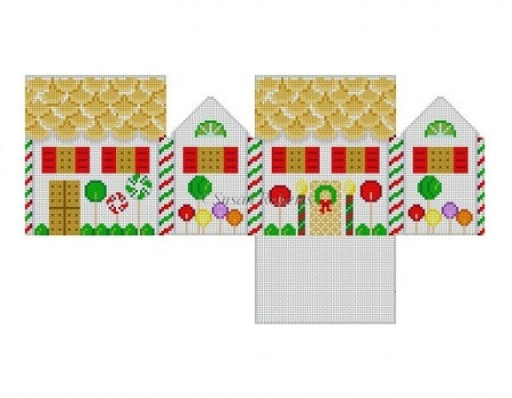 Lollipop with Vanilla Wafers 3D Gingerbread House Canvas - needlepoint
