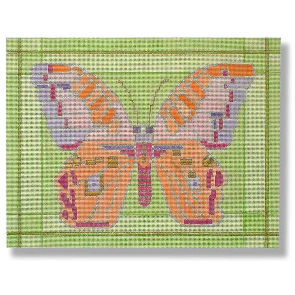 Butterfly with Green Border Canvas-Needlepoint Canvas-CBK Needlepoint-KC Needlepoint