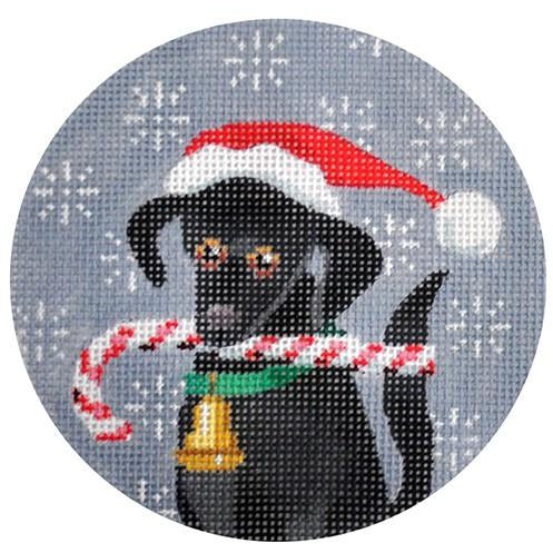 Black Lab Candy Cane Round Canvas-Needlepoint Canvas-Kirk & Bradley-KC Needlepoint