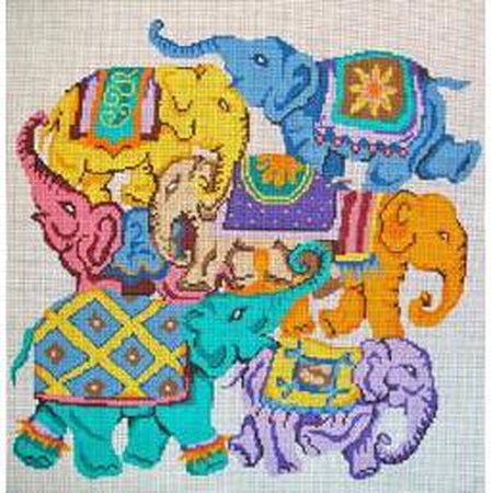 Colorful Elephant Collage Canvas - KC Needlepoint
