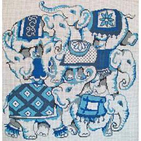 Blue and White Elephant Collage Canvas - KC Needlepoint