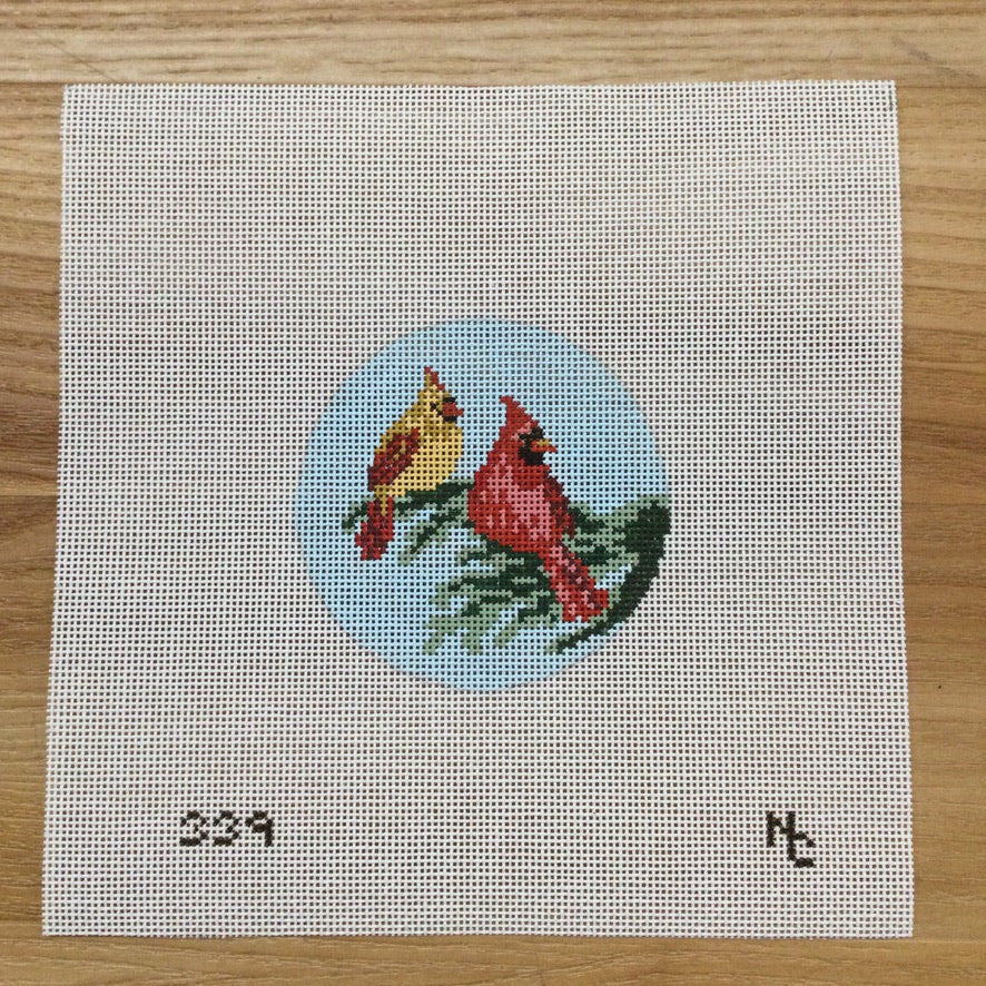 Cardinal Couple Round Canvas - needlepoint