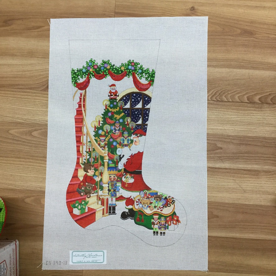 Santa Stairs Male Stocking Canvas - needlepoint