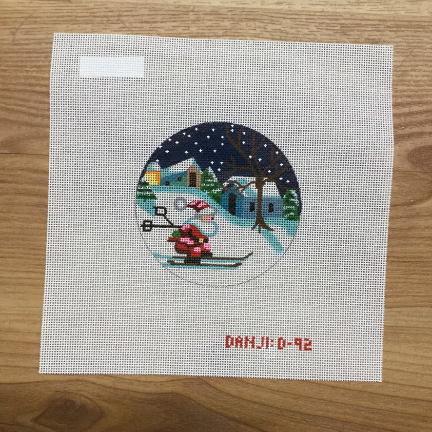 Santa on Skis Canvas - needlepoint