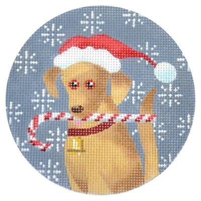 Golden Labrador Candy Cane Round Canvas-Needlepoint Canvas-Kirk & Bradley-KC Needlepoint