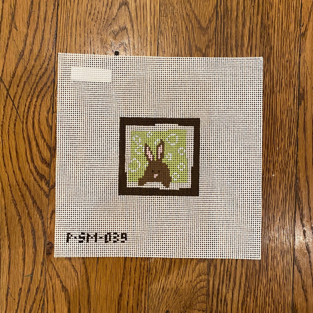 Bunny Green Circles Background Canvas - KC Needlepoint