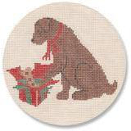 Christmas Morning Chocolate Lab Ornament Canvas-Needlepoint Canvas-CBK Needlepoint-18 mesh-KC Needlepoint