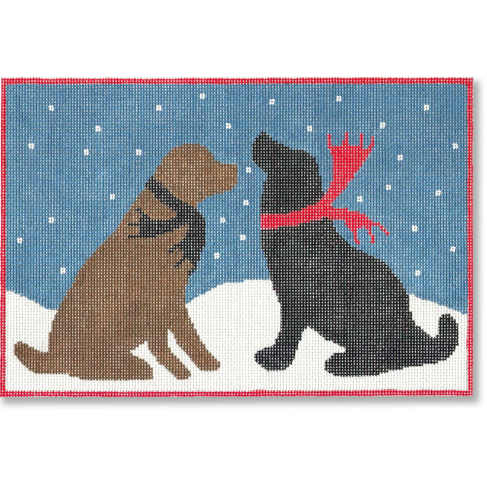 Evening Snow Dogs Canvas - KC Needlepoint