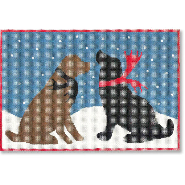 Evening Snow Dogs Canvas - needlepoint