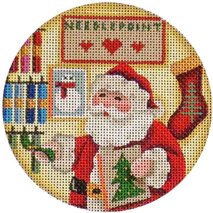 Shopping Needlepoint Round - needlepoint