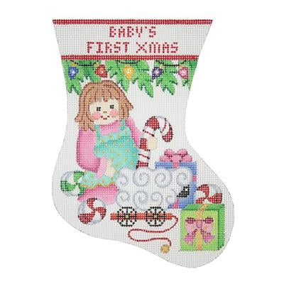 Baby's First Christmas Doll Mini-Sock Canvas - KC Needlepoint