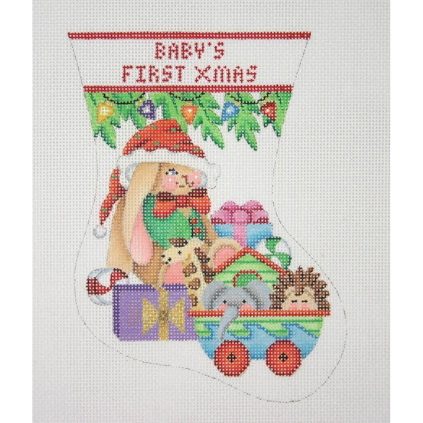 Baby's First Christmas Mini-Sock Canvas - KC Needlepoint