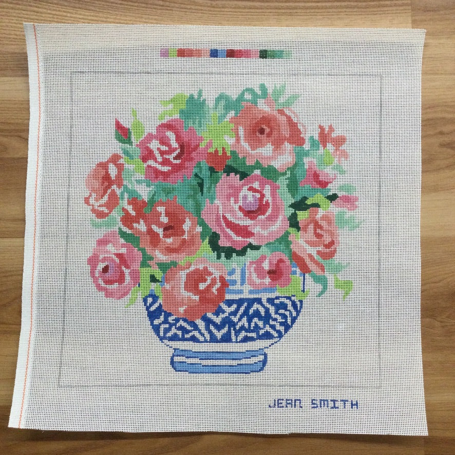 Bowl of Roses Needlepoint Canvas - needlepoint