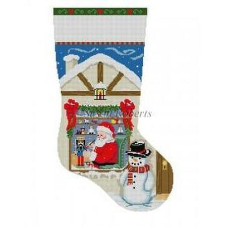 Santa Workshop Nutcracker Stocking - needlepoint